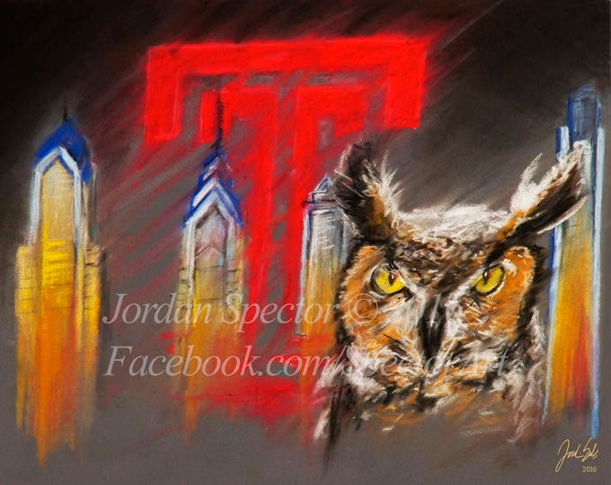 """Temple Owls """"Stella"""" open edition art print - 16x20 inches"""