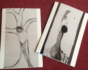 Set of two cards, blank inside, drawings, poetry