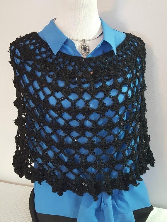 70's retro poncho, crochet poncho, boho chic poncho, Jack and Sally wedding accessories, red carpet fashion