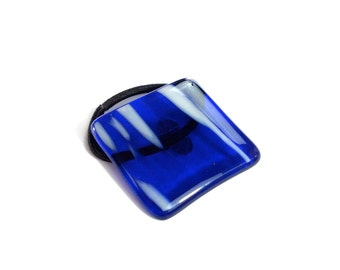 Ponytail Holder, Cobalt Blue and White, Large Hair Accessory for Thick Hair