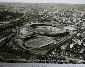 Vintage postcard.Futbol.Brasil.Vintage stadium.Estadio Maracana. Black.White. Grey.Soccer. Brazil. Ephemera.Memorabilia. Football.
