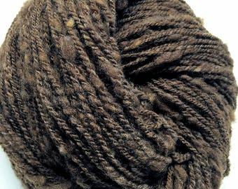Chocolate - Hand Spun Yarn - Rustic Spun Natural Brown Merino - No Dye - Sport Weight - 660 yds
