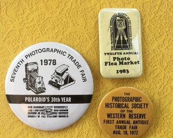 vintage lot of 3 photographic society pins 70s 80s pinback button polaroid cameras