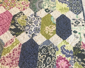 Lap or Baby Quilt -- Secret Garden by Sandi Henderson -- blue, pink, green, lilac, purple, white---pattern available -- Beads and Baubles