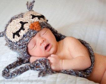 PDF Crochet Pattern - Sleepy Owl Hat - includes 4 sizes