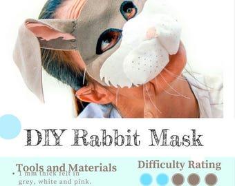 Rabbit Mask PATTERN // Kids Easter Bunny Costume Sewing Pattern // DIY Kids Party Mask.