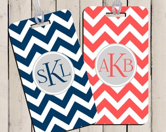 Luggage Tag Set - His and Hers Chevron Luggage Tags- Custom Monogram Luggage Tag Set