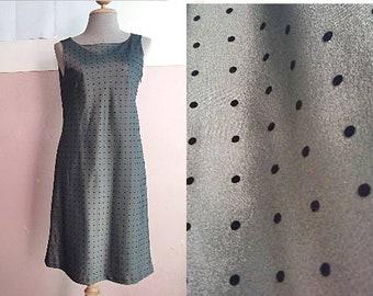 80s Mini Formal Dress - Summer Day Dress - Office Dress - Minimalist Polka Dot Dress - Black Tiny Dot Dress - S