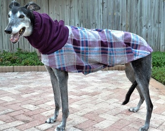 "Greyhound Coat. ""Heavy Plum/Teal Plaid Cocoon Coat"" - Greyhound Sizes"