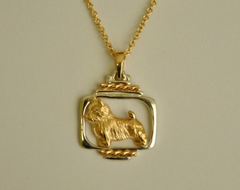 14K Gold and Silver Norwich Terrier Pendant