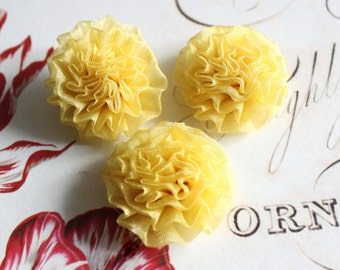 Lot of 6, Yellow Organza Chrysanthemum Flower Appliques in 1.5""