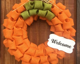 Pumpkin Burlap Wreath - Fall Wreath - Fall Decor - Pumpkin Decor - Autumn Wreath - Thanksgiving Wreath - Pumpkin Wreath - Autumn Decor