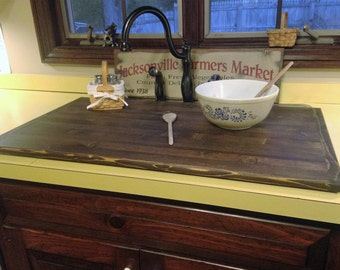 Primitive kitchen sink cover or stove top board black with flat wood sink cover stained dark walnut no rails workwithnaturefo