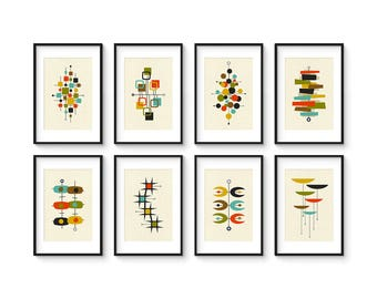 Collection of (8) Giclee Prints in 8x12 Format - Mid Century Modern Print Set