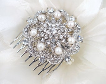 Gardenia - Silver Vintage Style Rhinestone and Freshwater Pearls Hair Comb