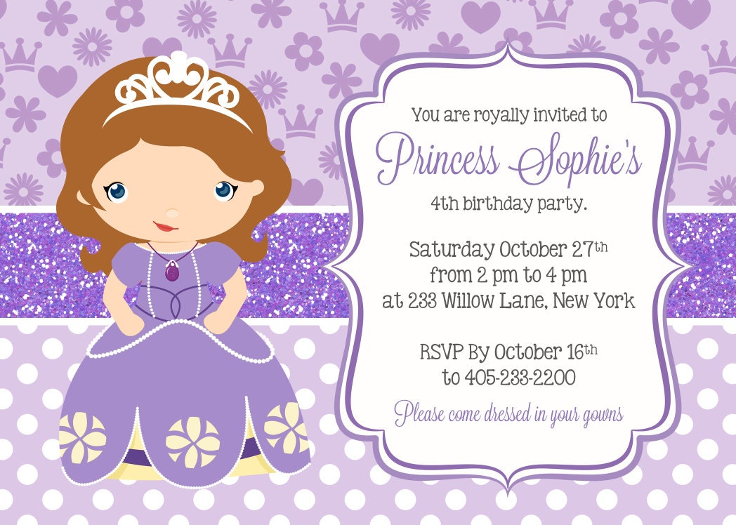 Princess Sofia Invitation Princess Party Invitation Sofia