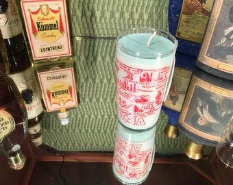 Vintage Oklahoma Souvenir Glass with a Soy Lemon Eucalyptus Candle
