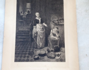 "Antique 1887 Etching of Nicholas Maes ""The Idle Servent"""