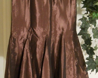 Rose du Bois bohemian jean skirt dark mauve rose shimmery copper silk vintage lace mermaid goddess ballroom Renaissance Denim Couture