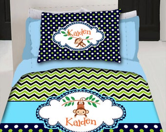 Custom Personalized  Duvet Cover- Shown in Lil Monkey childrens theme- Any Colors - Any Theme - Available in Twin or Queen Size