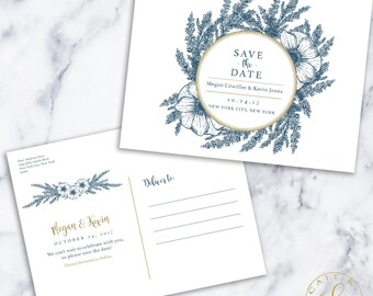 Custom Save the Date Postcard - Printable | Digital | Navy | Gold | Floral | Classic