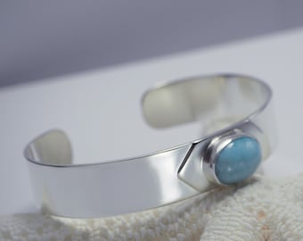Silver Cuff Bracelet with Larimar Gemstone