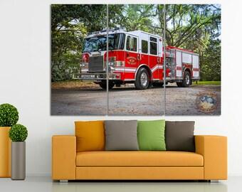 Fire truck canvas Fire truck print Fire engine decor Truck decor Truck canvas Dumper truck wall art Boy room decor Construction canvas