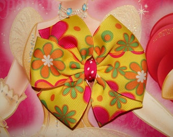 Yellow with Flowers Large Pinwheel Hair Bow