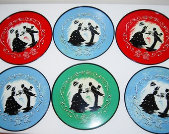 Vintage Tray Collection Silhouette of Courtship Couple.......Six Pieces