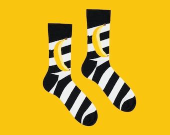 Banane, Art chaussettes, chaussettes rayées, zébrées, chaussettes noires, chaussettes des femmes pour hommes