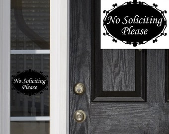 No Soliciting Sign Front Door Sign No Solicitation Sign No Soliciting Door Sign No Soliciting Decal No Soliciting Sticker Small Vinyl Decal