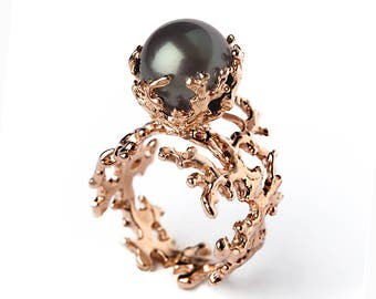 ROSE CORAL Tahitian Pearl Ring, Black Pearl Engagement Ring,  Rose Gold Pearl Engagement Ring, Rose Gold Engagement Ring