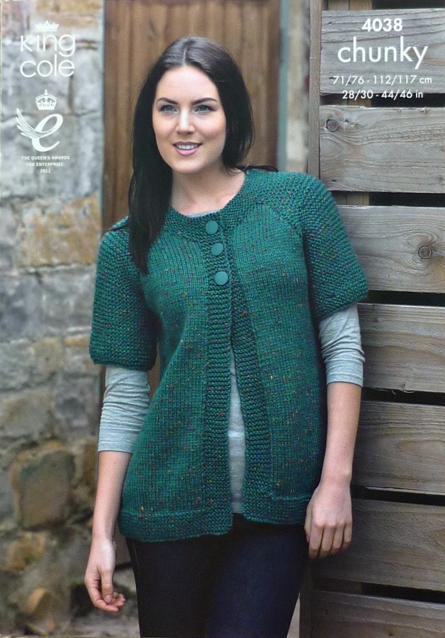 Womens Knitting Pattern K4038 Ladies Short Sleeve Jacket EASY KNIT ...