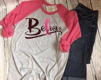 Breast Cancer Awareness Shirt Pink Ribbon Awareness Breast Cancer Cancer Survivor Awareness Shirt Breast Cancer tshirt  Cancer Gift