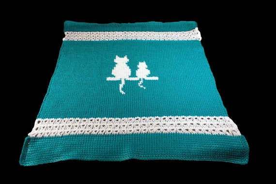 Baby Blanket, Pet Blanket, Baby Bedding,  Pet Bedding, Pet Accessory, Any Pet Blanket, Silhouette Blanket, Teal and White, Crocheted Blanket