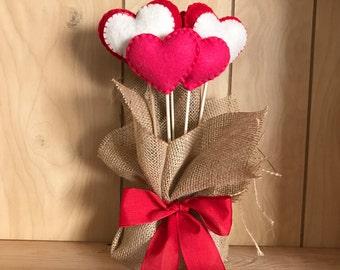 Valentines Felt Hearts-
