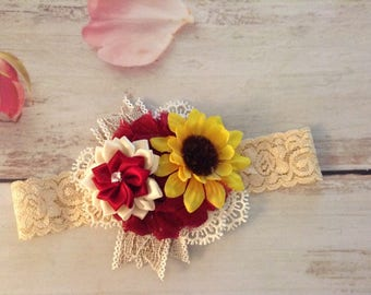 Sunflower Vintage Fall lace newborn baby girls headband