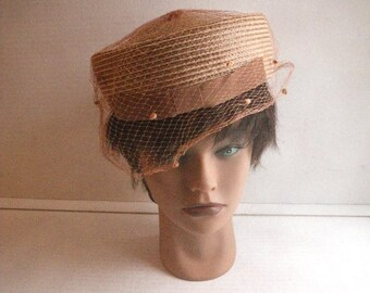 1960s Brown Straw Pillbox Hat - Netting Veil and Front Grosgrain Ribbon