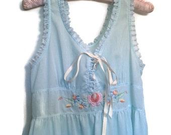 Vintage Nightgown - blue nightgown - full floor length nightgown - embroidered nightgown - corset nightgown - sheer nightgown