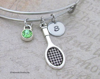 Tennis Bangle Personalized Hand Stamped Initial Birthstone Antique Silver Tennis Racket Charm Stainless Steel Expandable Bangle Bracelet