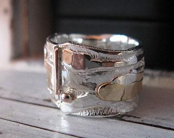 SALE Size 8-3/4 Rustic Mens Wedding Band Mens Wedding Ring Multimetal Bimetal Gold Silver Ring Unique Mens Wedding Band Viking Wedding Ring