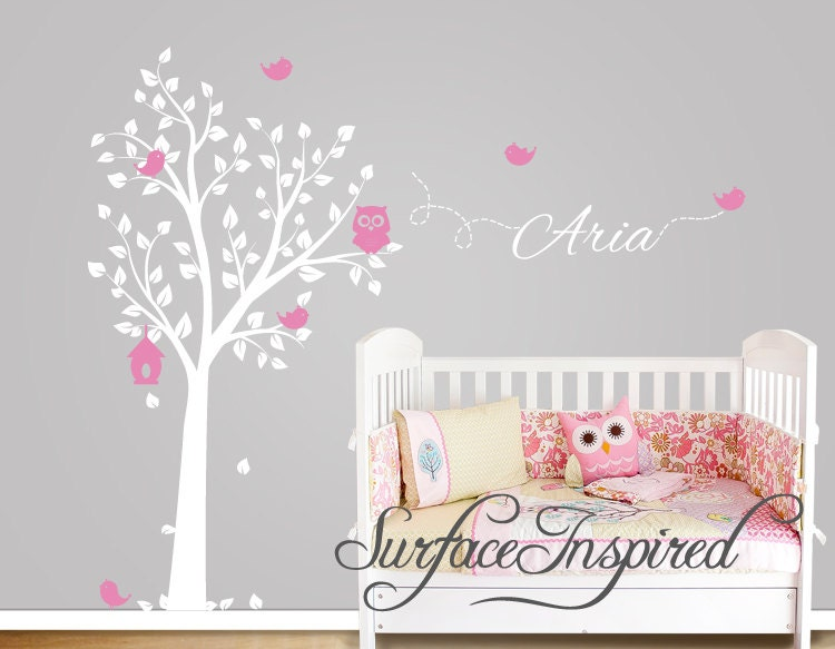 nursery wall decals owl tree wall decal with birds and custom. Black Bedroom Furniture Sets. Home Design Ideas