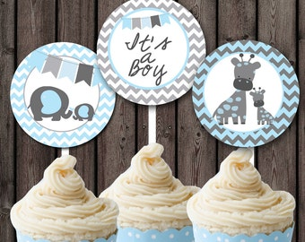 Elephant, Giraffe, cupcake toppers, chevron, Baby boy shower, baby shower supplies, blue and gray, INSTANT DOWNLOAD