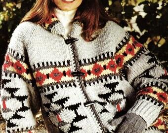 White Buffalo 1420A Cowichan Native Canadian Sweater Knitting Pattern Digital PDF