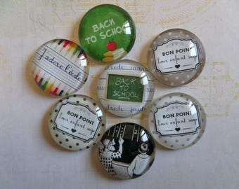 Set of 7 glass cabochons round 25 mm school theme