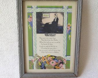 Mother Poem Motto Print Mother's Day Gift Art Nouveau Colored 1930s Original Silver Wooden Frame Vintage Art Whistler's Mother