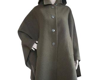 BURBERRYS PROSUM - Cape/coat woman, detachable hood - vintage 70's - pure wool size 36 to the 40FR