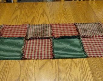 Table Runner, Homespun Rag Table Runner, Homespun Table Runner, Rag Quilt Table Runner, Christmas Table Runner, Table Centerpiece Candle Mat