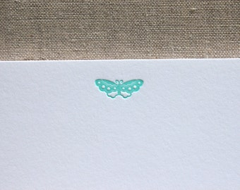 Flat Card Set with Letterpress Butterfly