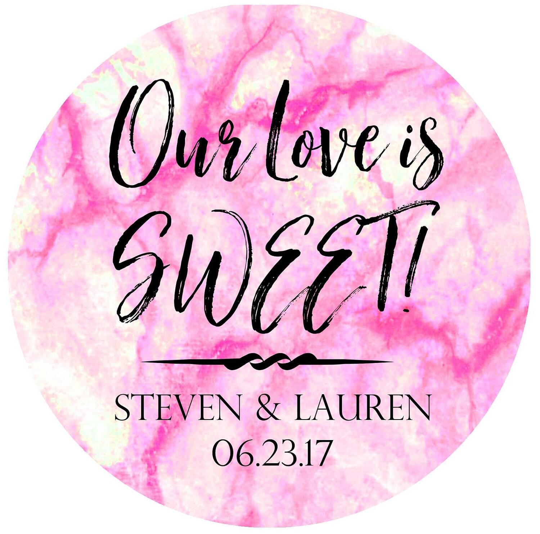 Pink Marble Wedding Favor Stickers Wedding favor labels